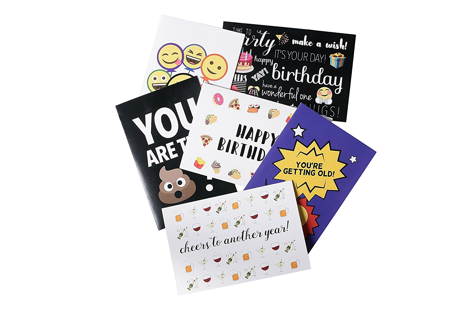 Get Quotations Birthday Cards Box Set 48 Pack Happy 6 Emoji Designs With Funny