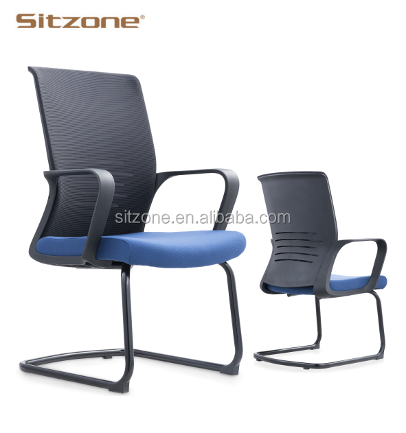 Low price plastic frame meeting room mesh back visitor office chair with chrome base