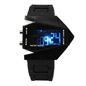 ShoppeWatch Elegant Plane Style Digital Display LED Silicone Wrist Watch Black