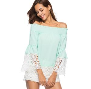 Women Casual Clothing Lace Patchwork Bell Flare Long Sleeve Blouses Off Shoulder Sexy Floral Lace Chiffon Blouse Top Black