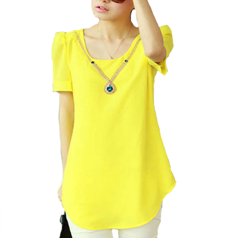 H&Q New 2015 Summer Loose Chiffon shirt Women Casual Short Sleeve Round Neck Blouses Ladies Shirts Tops Without necklace 02-118