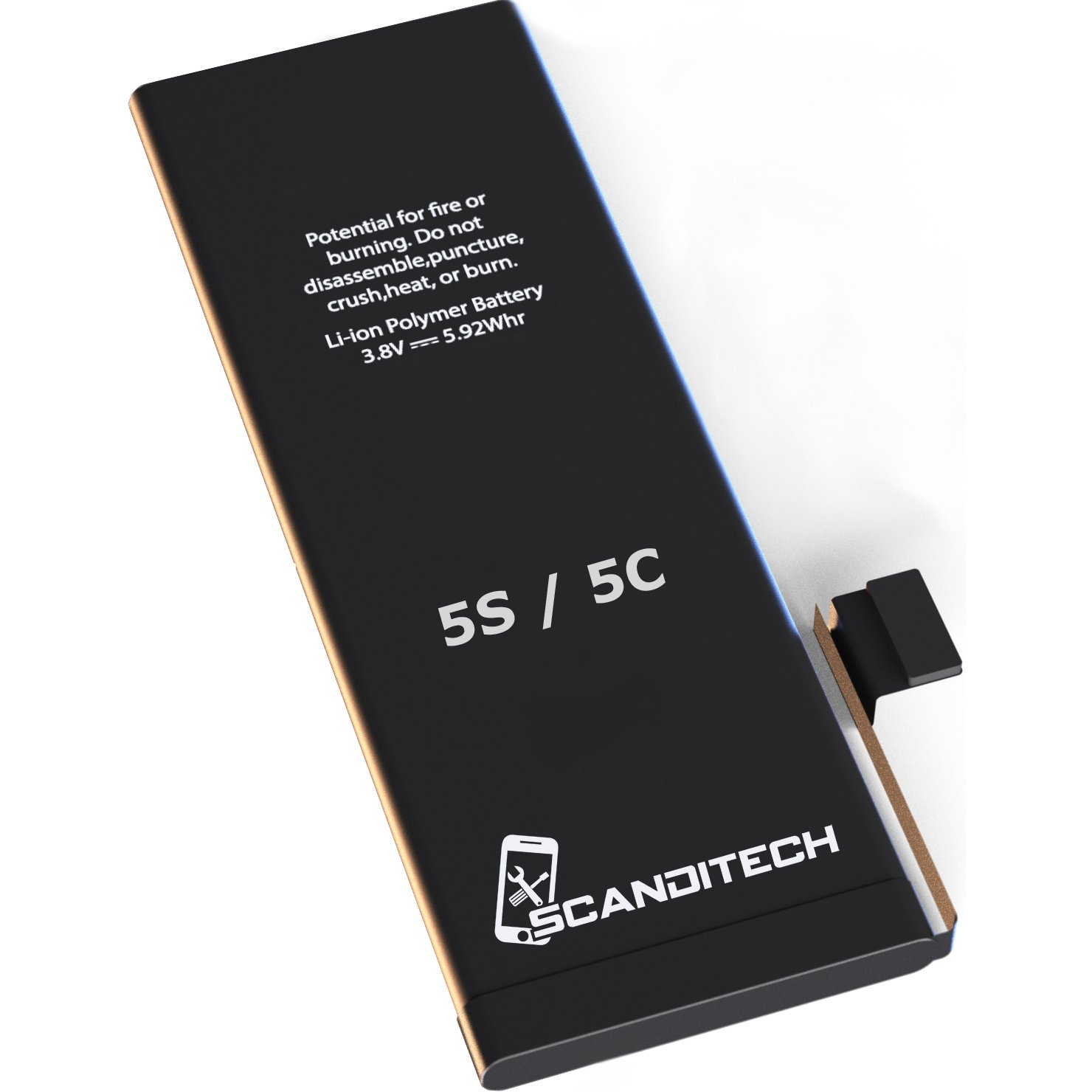 ScandiTech Battery Model iP5S-5C - With Adhesive & Instructions (no tools) - New 1560 mAh 0 Cycle Replacement Battery - Repair Your Phone in 15 min - 1 Year Warranty