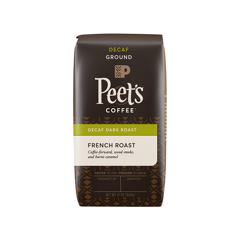 Peet's Coffee, Decaf, French Roast, Ground Coffee, 12oz Bag (Pack of 2)