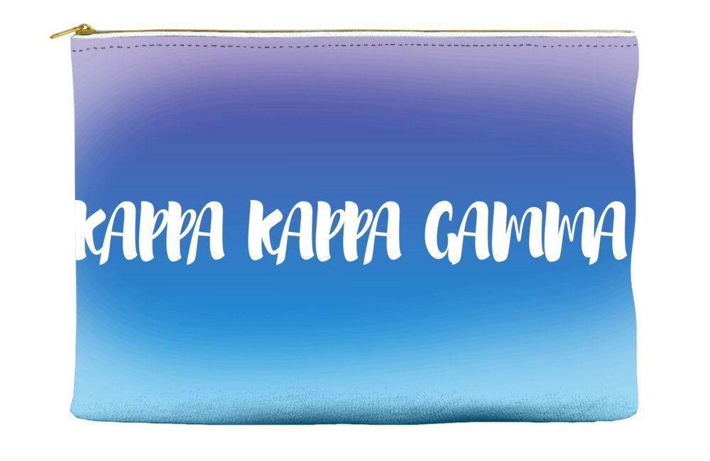 Kappa Kappa Gamma Ombre Sunset Purple Blue Cosmetic Accessory Pouch Bag for Makeup Jewelry & other Essentials