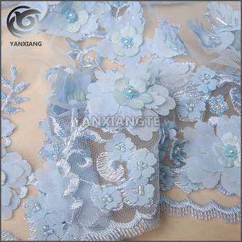Excellent Custom light blue 3D beaded applique mesh embroidery fabric