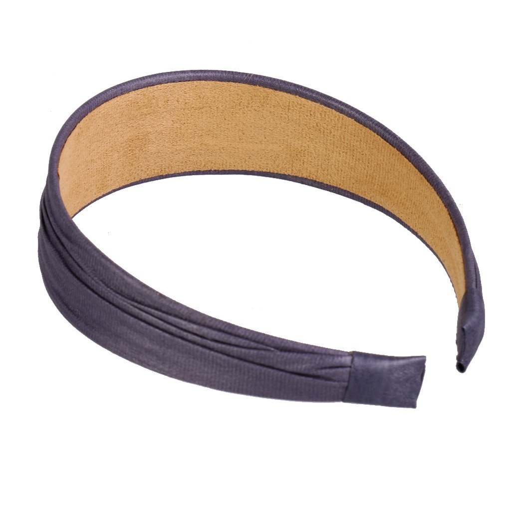 8 Colors Vintage Wide Artificial Leather Headband Hair Band Fashion Accessories - Dark Grey, XXXL