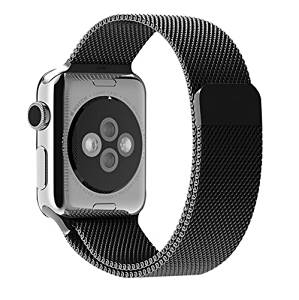 Apple watch band,iitee(TM) Milanese Magnetic Loop Stainless Steel Strap Watch Bands for Apple Watch iwatch (42mm black)