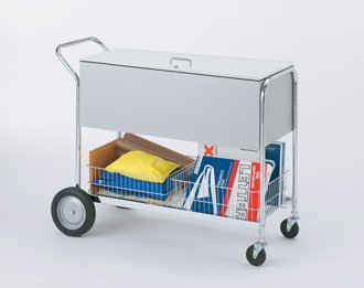 Charnstrom Long Solid Metal Cart with Locking Top and 10-Inch Rear Tires (B288)