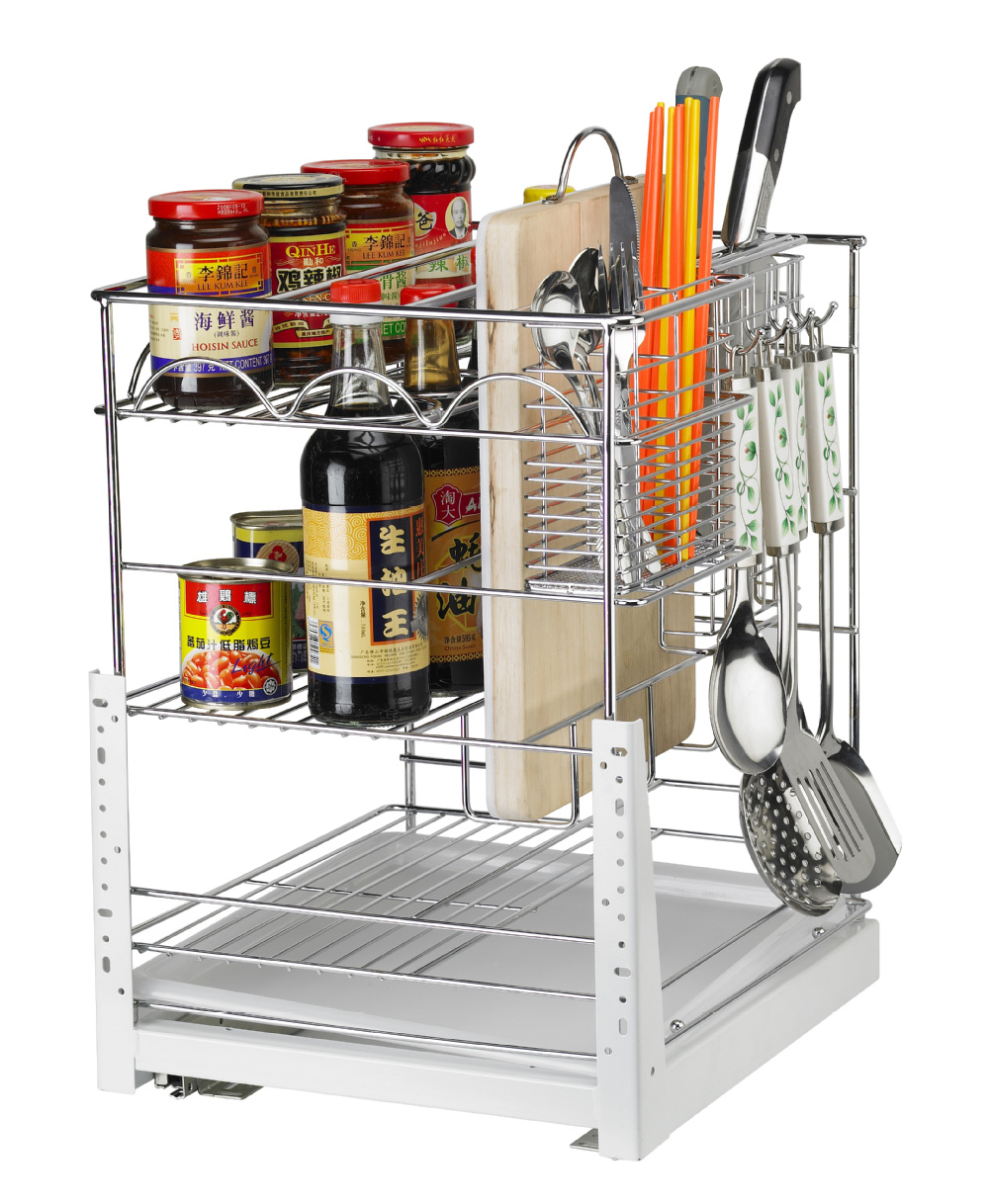 China Best Selling Products Kitchen Cabinet Pull Out Basket / Wire Storage  Basket In Chrome Plating