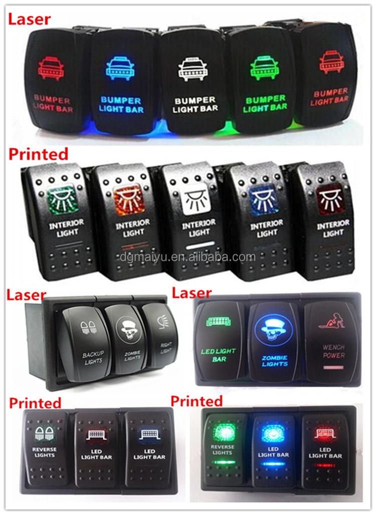 Green Light Front LED LIGHT BAR Offroad Laser Rocker Switch Backlit For Car//boat