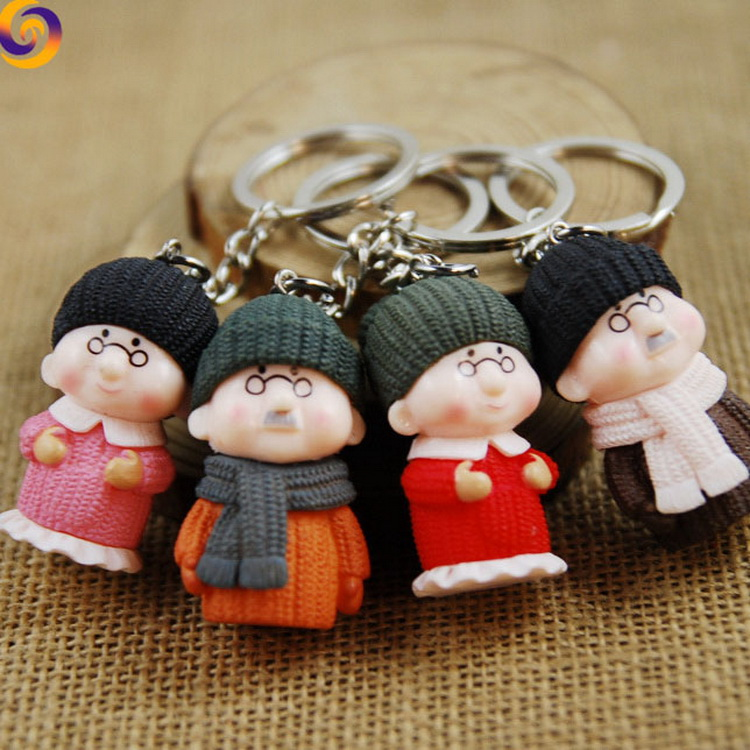 Wholesale 3d plastic cartoon old grandfather grandmother keychain