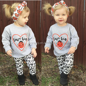 Children Clothing Set Baby Girls Kids Toddler Long Sleeve Autumn Love Bug Heart Shirt Tops+XO Pants+Headband 2Pcs Baby Set