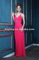 long prom gowns elegant formal dress beaded evening dress halter fuchsia evening dresses T164