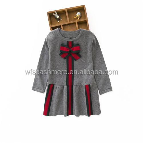 New fancy christmas bowknot long sleeves 100% cashmere infant and child santa sweater cashmir dress for girls