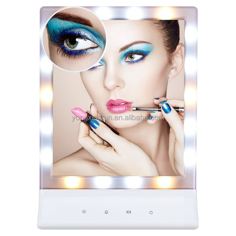 YXR-M7 Wall Mounted & Table Standing Multiple Illumination Settings Sensor Screen LED Lighted Makeup Vanity Mirror