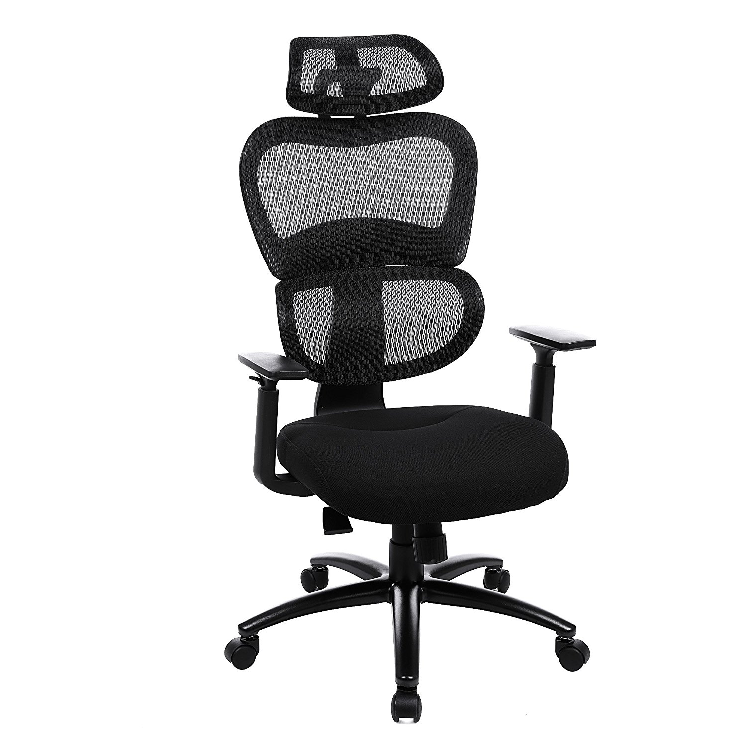 SONGMICS Ergonomic Mesh Office Chair, Swivel Desk Chair, with Lumbar Support, Adjustable Headrest and Armrests, Back Reclining and Tilt Lock Function, Black UOBN89BK