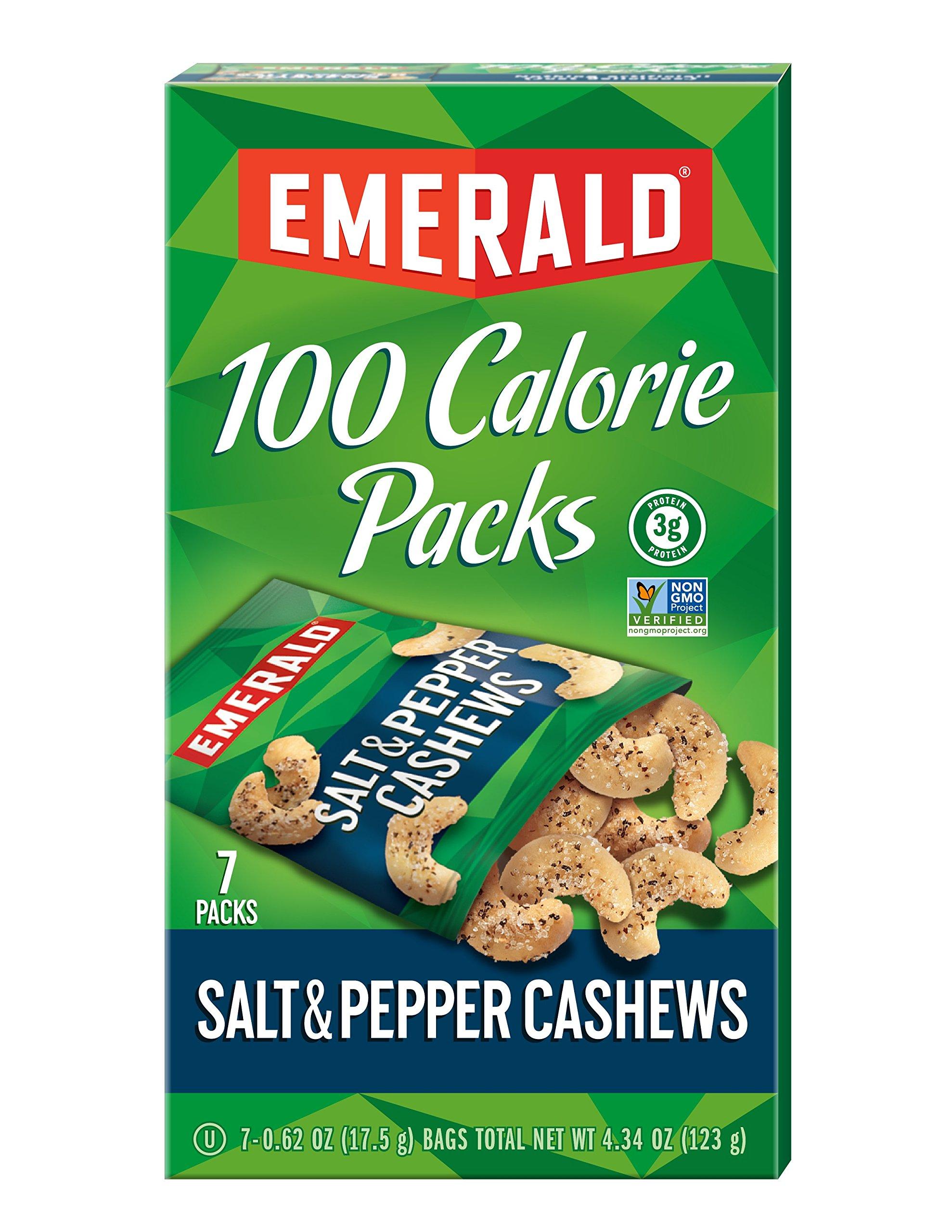 Emerald Salt and Pepper Cashews 100 Calorie Packs, 7-Count Box