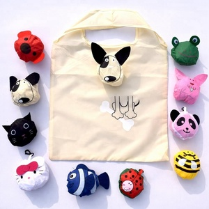 Custom made cheap promotional animal shape foldable reusable polyester shopping bag