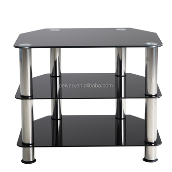 Cheap Small 3 Tier Black Glass Tv Unit Corner Tv Stands Buy Tv