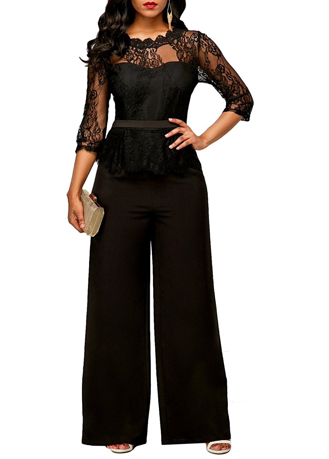 1d4189767aa Sumtory Women High Waist Palazzo Jumpsuit 3 4 Sleeve One Piece Lace Peplum  Jumpsuit With