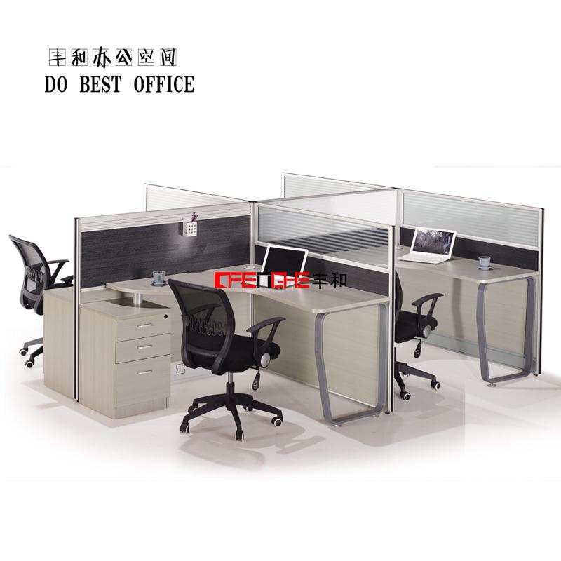 Moderne mobilier de bureau table diviseur 4 personne for Bureau 4 postes de travail