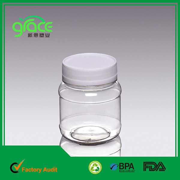 competitive price good quality 200ml for nut/coffee/tea/spice plastic bottle with white screw cap pet plastic jam jar