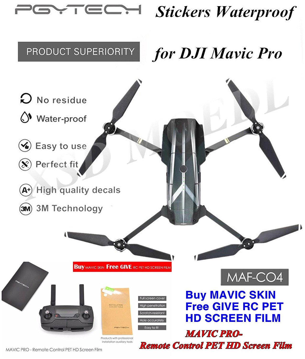 XSD MODEL Hyun-cool Shell Stickers Skin 3M Waterproof PVC Decals MAF-CO4 for DJI Mavic Pro