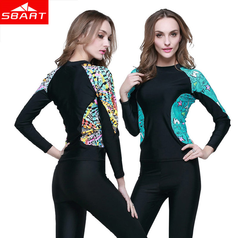 3cb01e64f320c Sbart Women s Long Sleeve Rashguard Surf Wetsuit