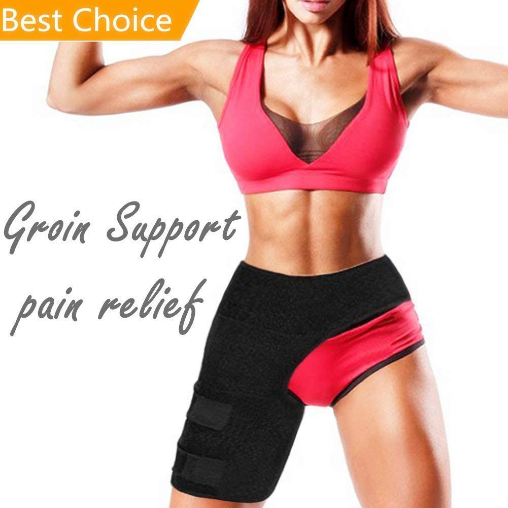 fae503eb38 Get Quotations · Groin Support - Hip Flexor Brace for Sciatica Nerve Pain  Relief - Adjustable Neoprene Groin Compression