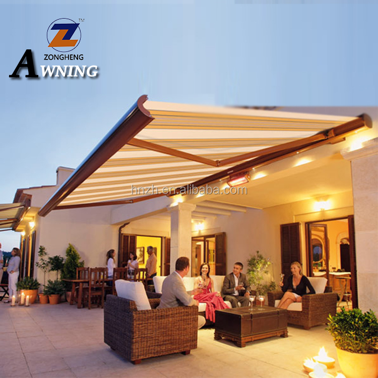 Commercial Outdoor Remote Control Electric Full Cassette Motorized Retractable Awnings for garden with LED and Dooya motor