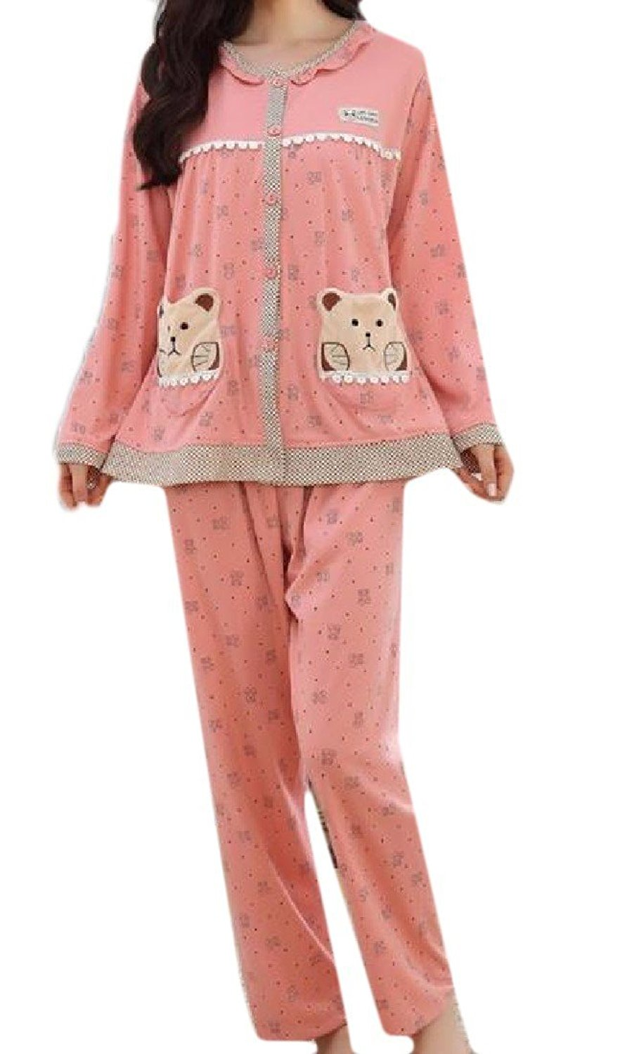 Sheng Xi Womens Printed Button Down Stitching Bear Novelty Pajama Lounge Set