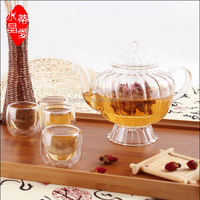 nice looking glass tea set with glass tea pot and double wall glass cup