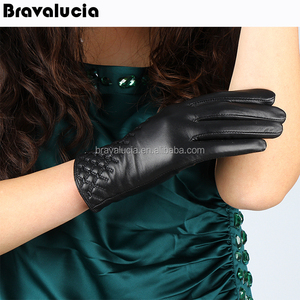 2018 NEW women's leather lambskin winter warm soft fox fur cuffs gloves mittens