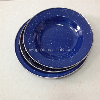 Blue Color With White Spots Carbon Steel Enamel Camping Plates