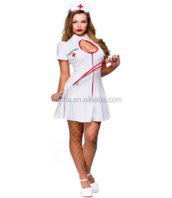 Latex Nurse Costume Dress Halloween Outfit Fancy Dress Cosplay Sc1101