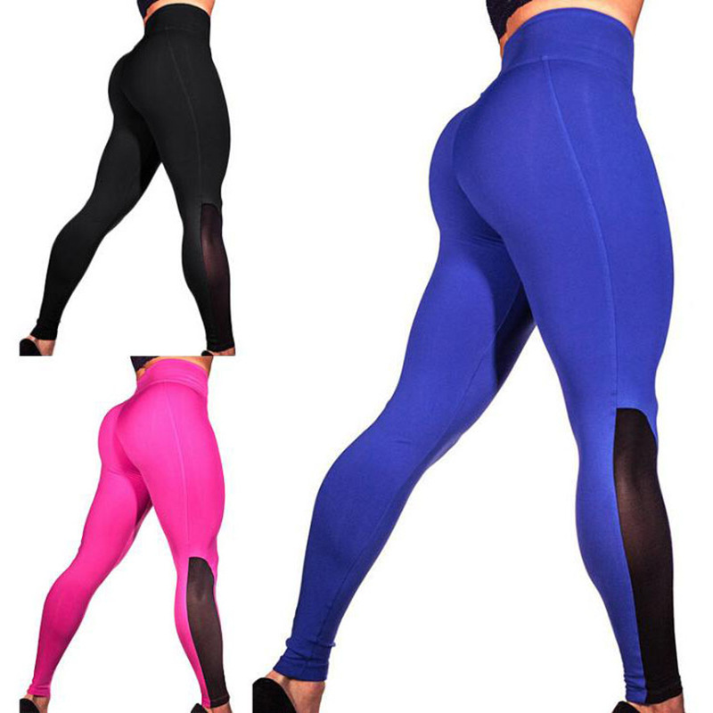 2018 new hot selling wish fast selling women crash color mesh stitching sports Yoga Fitness bottoming bottoming trousers
