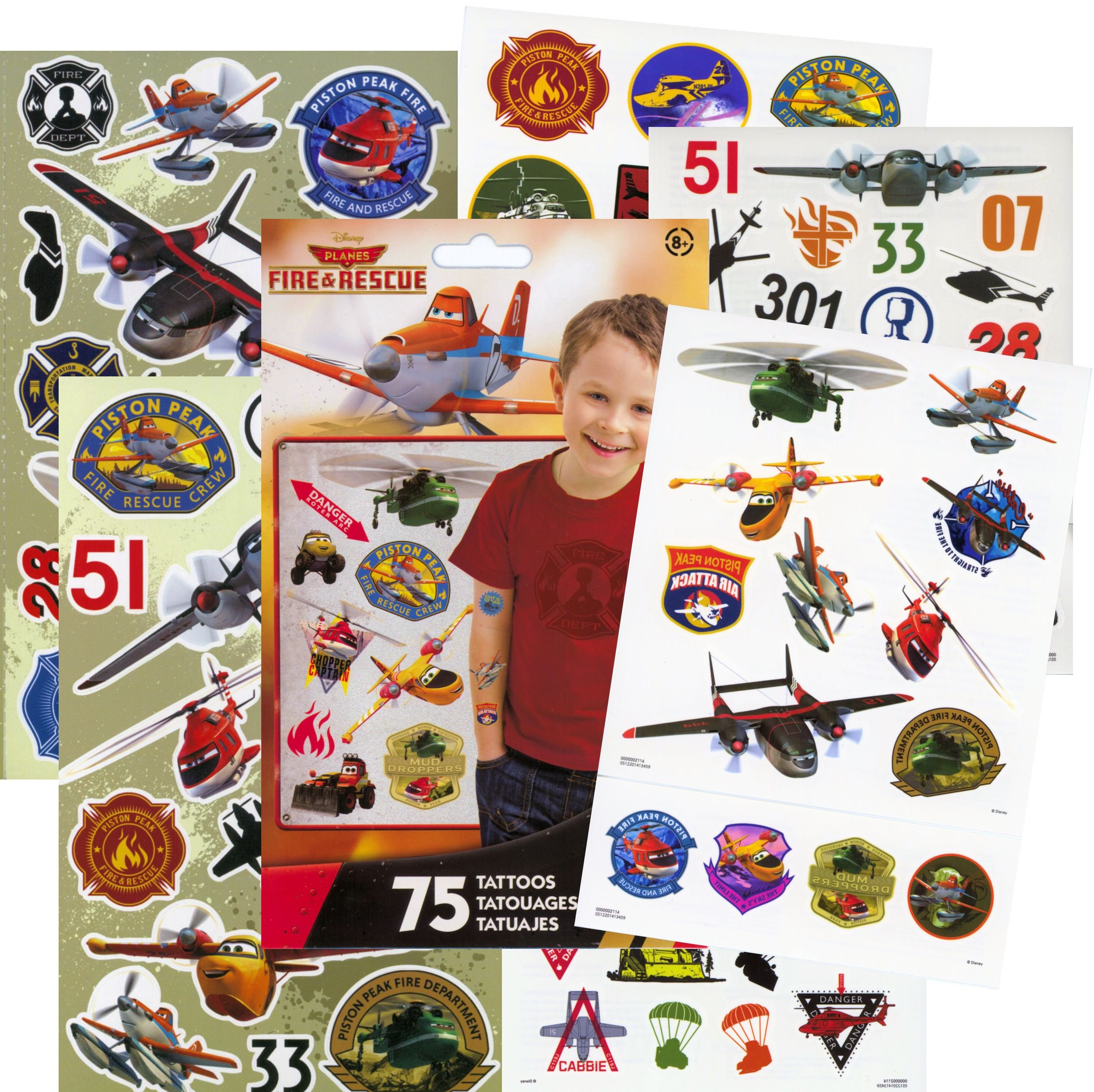 Disney Planes: Fire & Rescue Tattoos and Stickers Party Favor Pack (60 Stickers & 75 Temporary Tattoos)