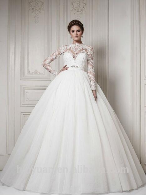 de alta calidad de alta cuello vestidos de novia de manga larga de