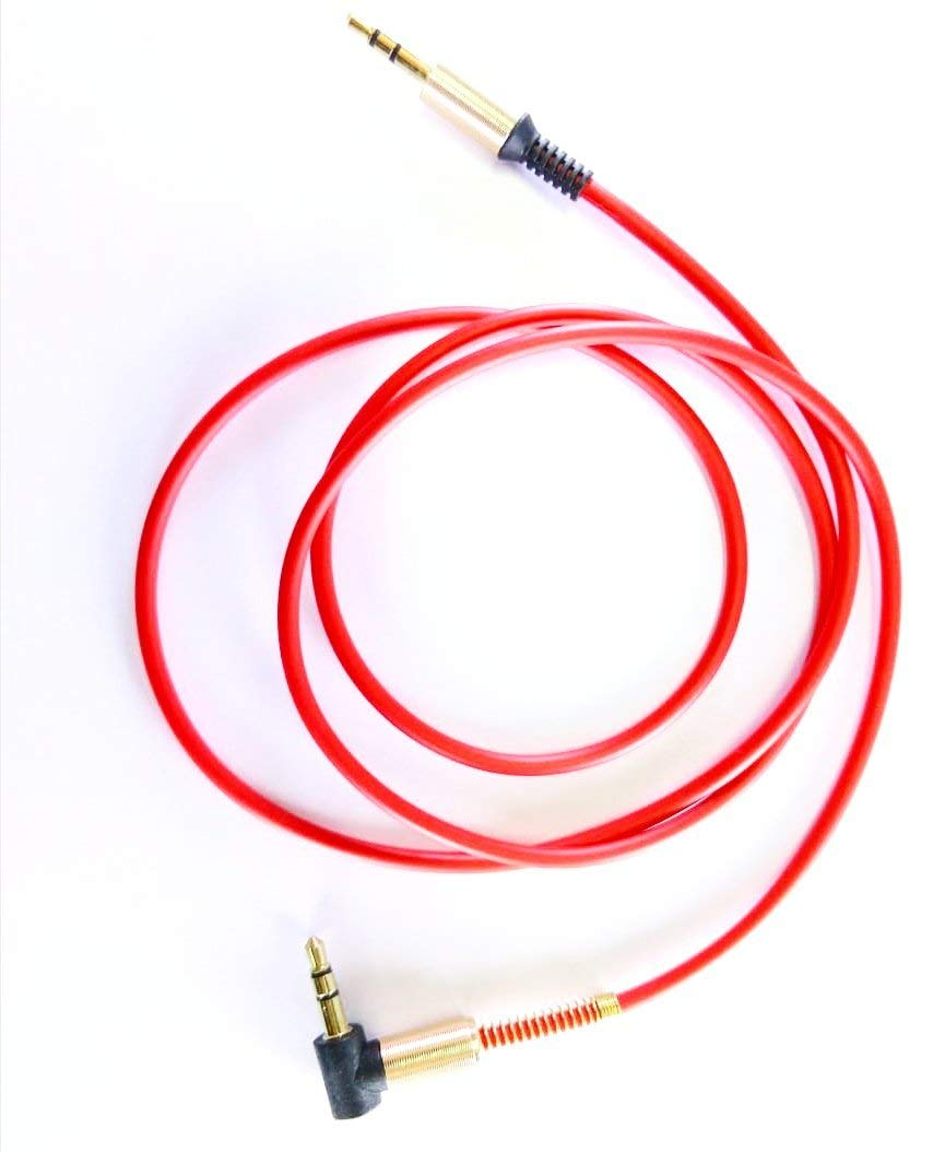Detec 3.5 mm Aux Cable - Audio Cable - 1 Meter - Red - Gold Plated Connectors