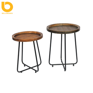 Living Room Beautiful Color Small Occasional Round Corner Accent Wooden Retro Tray Side Table
