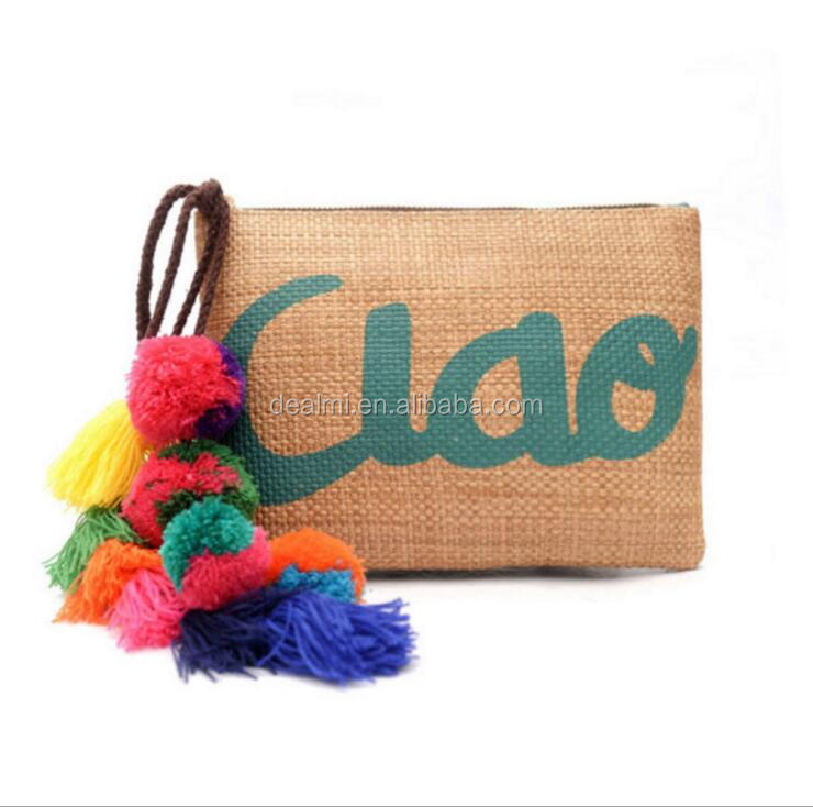 DEMIZXX842 Wholesale Custom Pom-pom Ball Decorations Small Size Pu Back Side Tote Free Shipping Camel Color Straw Clutch Bag