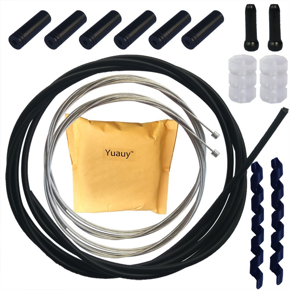 Yuauy Road and Mountain Shift Derailleur Cable and Housing Bike Replacement Set Kit + Cable Sleeve Rubber Protector + Shift Cable End Caps Tips Crimps