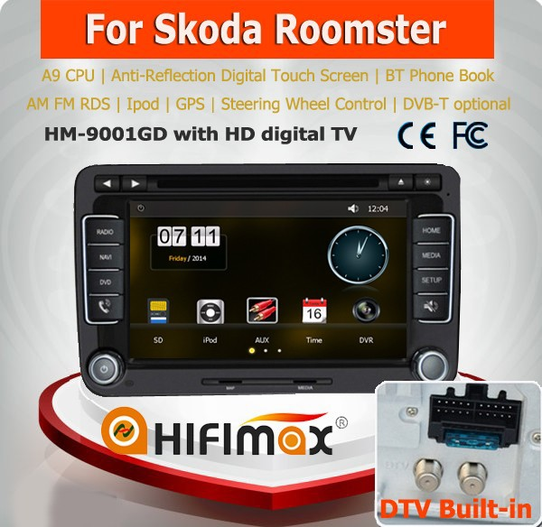 HIFIMAX A9 Chipset 2 din car dvd gps for skoda rapid car radio 2005-2015 /skoda roomster car dvd with radio