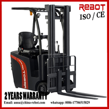 AC motor Narriow aisle three wheels mini electric forklift with 24V/540Ah battery