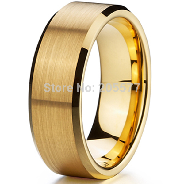 2015 high quality 18k gold Ion plating genuine pure 8mm titanium mens fashion jewelry wedding bands rings men mens aneis de ouro