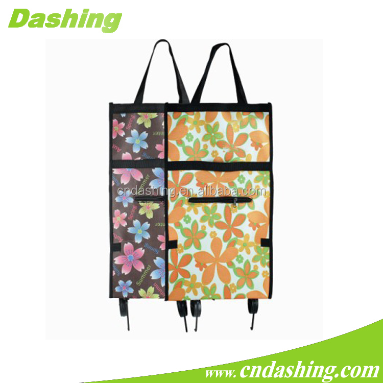 Portable shopping trolley bag,easy carry supermarket folding shopping trolley bag with wheels