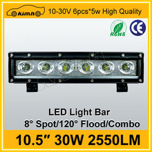 Low price car accessory waterproof 10.5'' 30W 12v waterproof dimmable led light bar
