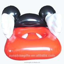 Furniture set self inflating mickey cartoon baby single sofa flocking lazy boy chair for children