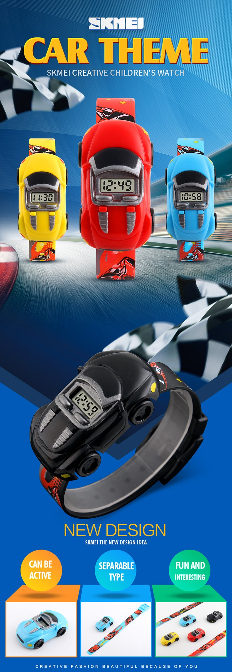 9488bcbf601 2017 nova design Criativo dos desenhos animados crianças moda relógio de  pulso de discagem carro criança