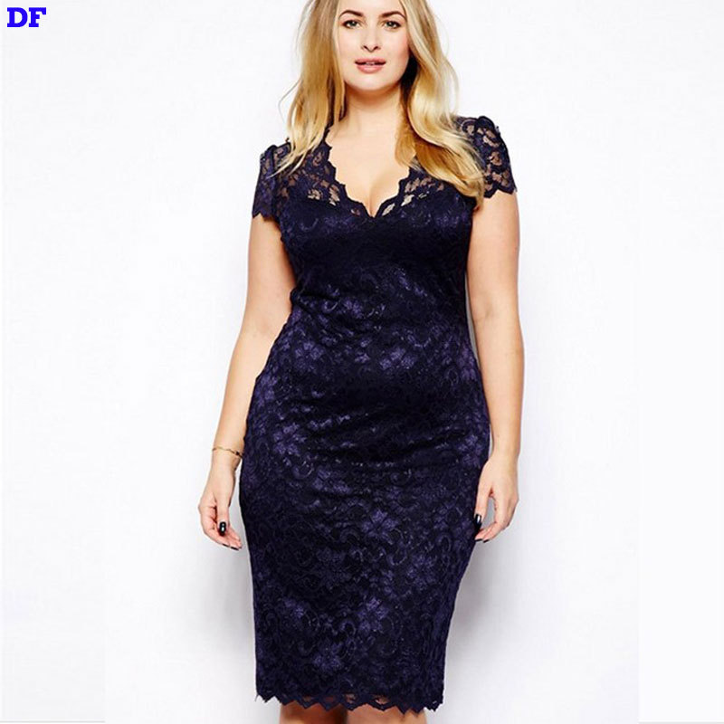 Lace XXXL Plus Size Summer Dresses Vestidos Summer Style Sexy Club Dress 2015 Hot Sale Fit Flare Wedding Party Dresses Vestido